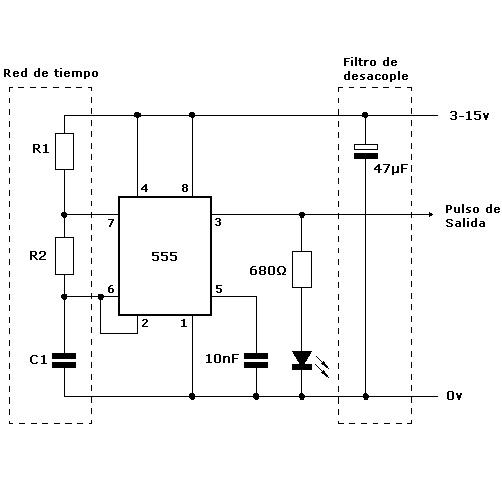 como funciona el timer 555 para generar un tren de pulsos