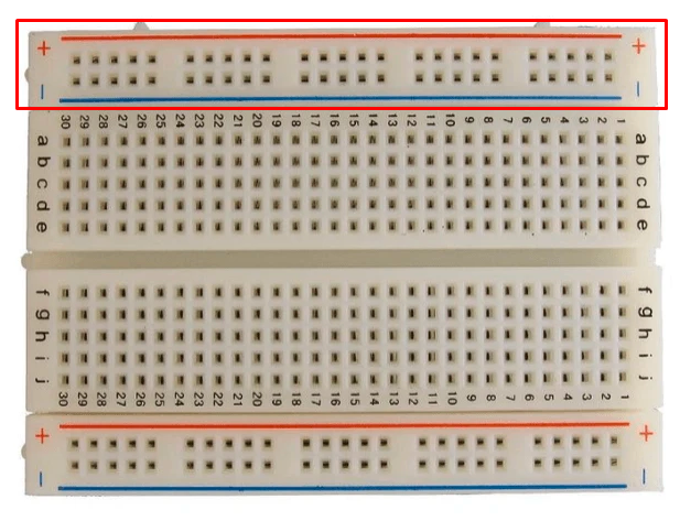 Buses de alimentación de un protoboard